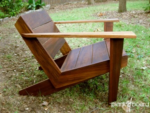 A modern, contemporary take on the classic Adirondack chair in basralocus, a Brazilian hardwood.