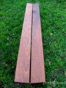 Top view of the slanted plankBench. The top planks are made with basralocus wood, also known as anqelique.<br />
