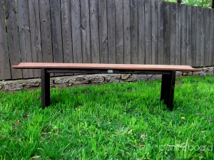 Front view of the slanted plankBench. The top planks are made with basralocus wood, also known as anqelique. The undercarriage is a espresso-stained pine.<br />
