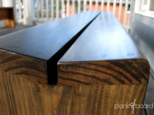 Detail view of the slant-top plankBench. The angled top is a bit friendlier toward tailbones than a flat top.