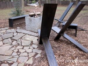 These plank chairs are great for back yard social areas, especially around fire pits.<br />