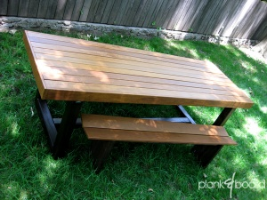 This unique outdoor dining table can be custom made to different sizes and from a variety of hardwoods.<br />