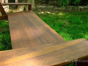 The Basralocus wood (also know as Angelique) has a deep, rich grain that weathers nicely.